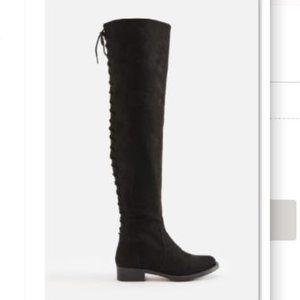 NWOT JustFab Thigh High Corset Back Boots Flat